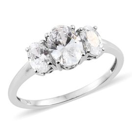 J Francis - 9K White Gold (Ovl) 3 Stone Ring Made with SWAROVSKI ZIRCONIA