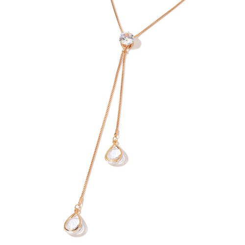 Simulated White Diamond Necklace (Size 22 with 2 inch Extender) in Gold Tone