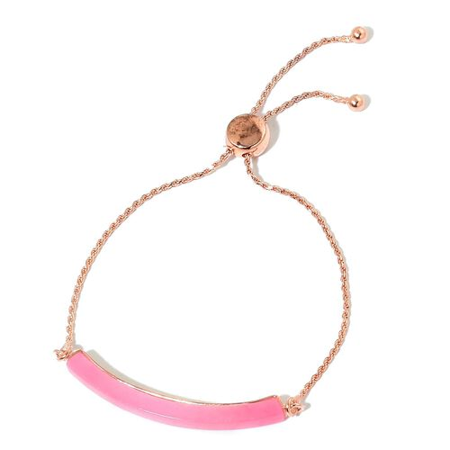 Pink Jade Adjustable Bracelet (Size 6 to 8) in Rose Gold Overlay Sterling Silver 6.750 Ct.