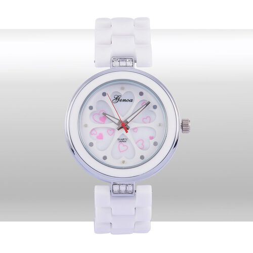 Diamond studded GENOA White Ceramic Japenese Movement White MOP Floral Dial Water Resistant Watch in Silver Tone with Stainless Steel Back and White Austrian Crystal