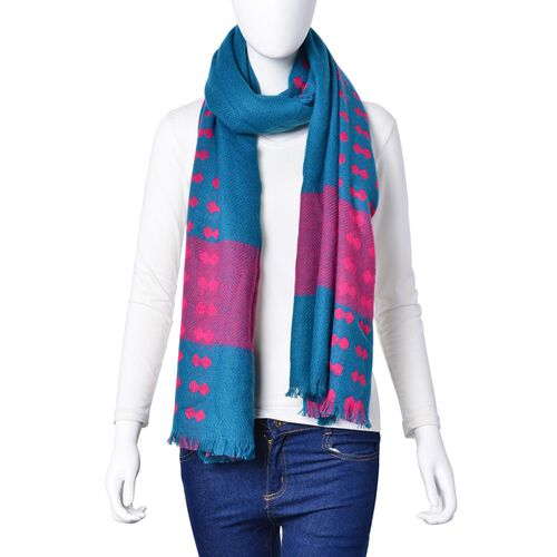 Fuchsia Colour Bow Pattern Teal Green Colour Scarf (Size 200x90 Cm)