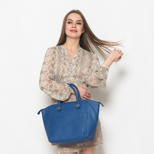 Genuine Leather Blue Colour Tote Bag with External Zipper Pocket (Size 42x29 Cm)