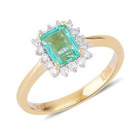 ILIANA 18K Yellow Gold 1.48 Carat AAAA Boyaca Colombian Emerald (Oct), Diamond (SI/G-H) Ring