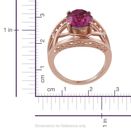Crystal from Swarovski - Fuchsia Crystal (Ovl) Solitaire Ring in Rose Gold Overlay Sterling Silver 5.250 Ct.