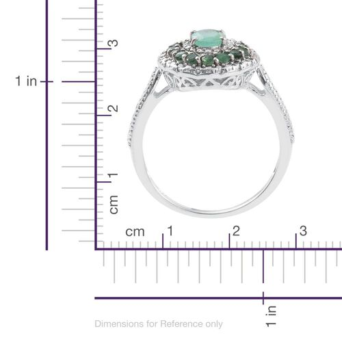 AAA Kagem Zambian Emerald (Ovl 0.75 Ct), Diamond Ring in Platinum Overlay Sterling Silver 1.215 Ct.