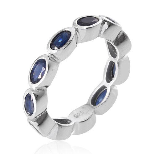 Kanchanaburi Blue Sapphire (Ovl) Full Eternity Ring in Platinum Overlay Sterling Silver 3.250 Ct.