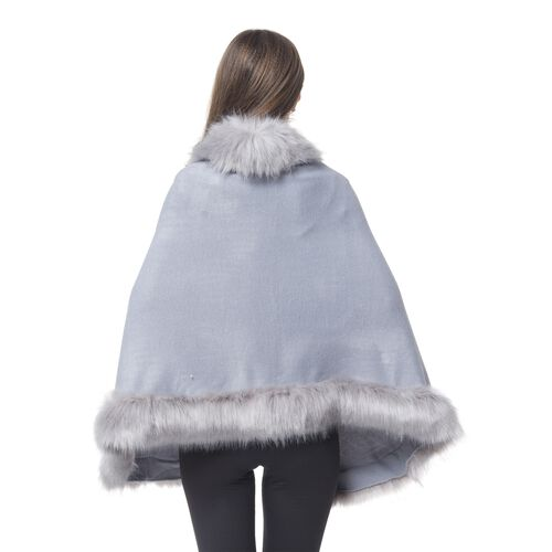 Light Grey Colour Cape with Faux Fur Edge (One Size)