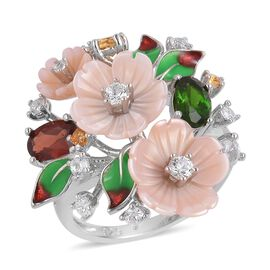 Jardin Collection - Pink Mother of Pearl, Mozambique Garnet, Russian Diopside and Multi Gemstone Enameled Flower and Leaves Ring in Rhodium Plated Sterling Silver
