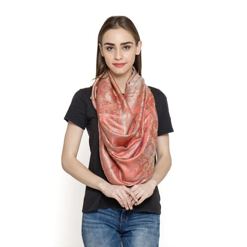SILK MARK - 100% Superfine Silk Red and Multi Colour Jacquard Scarf with Fringes (Size 180x70 Cm) (Weight 125 - 140 Grams)