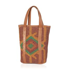 Green and Tan Colour Tote Bag Made with Kilim Rugs with an Internal Mobile Pocket (Size 40x29 Cm)