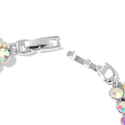 AAA Mystic Austrian Crystal Bracelet (Size 7.5 with Half inch Extender) in Silver Tone