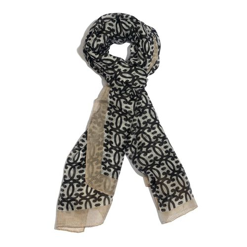 100% Mulberry Silk Black Colour Geometrical Pattern White Colour Scarf (Size 180x100 Cm)