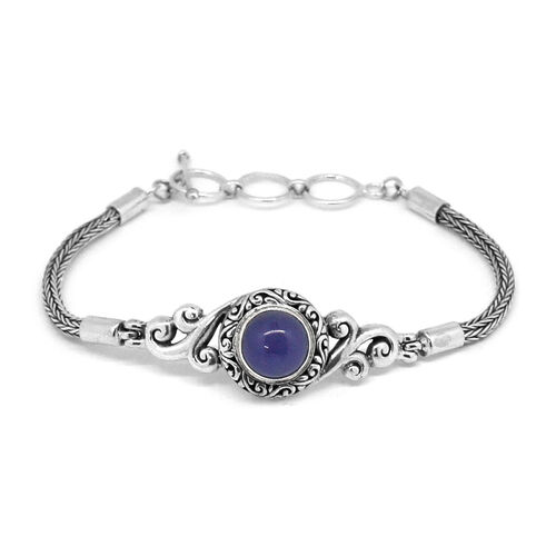 Royal Bali Collection Purple Jade (Rnd) Bracelet (Size 8 with Extender) in Sterling Silver 5.057 Ct. Silver wt. 14.00 Gms.