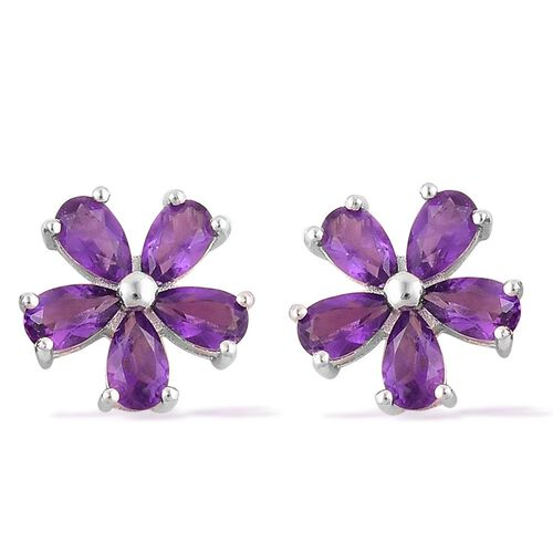 Amethyst (Pear) Flower Stud Earrings (with Push Back) in Platinum Overlay Sterling Silver 2.000 Ct.