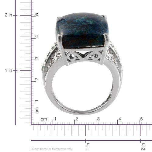 Table Mountain Shadowkite (Cush 17.25 Ct), Paraiba Apatite and Diamond Ring in Platinum Overlay Sterling Silver 17.520 Ct.