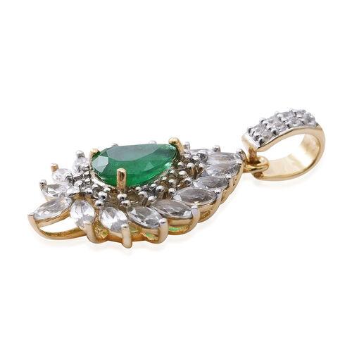 9K Yellow Gold AA Kagem Zambian Emerald (Pear 1.00 Ct), Natural White Cambodian Zircon Pendant 3.000 Ct.