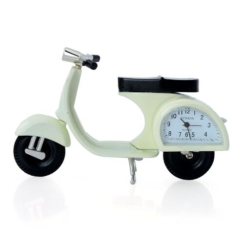 STRADA Japanese Movement White Dial Water Resistant Decorative White Scooter Table Clock in Silver Tone