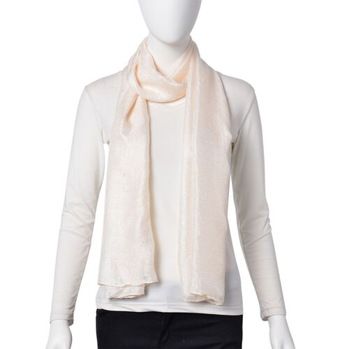 Micro - Cotton Blend Sparkle Scarf - White (Size 176X70 Cm)