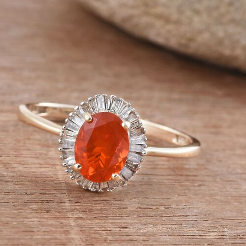 9K Y Gold AA Jalisco Fire Opal (Ovl 0.80 Ct), Diamond (I3/G-H) Ring 1.000 Ct.