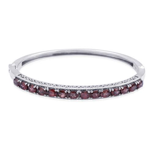 Raspberry Zircon (6.75 Ct) Platinum Overlay Sterling Silver Bangle (Size 7.5)  6.750  Ct.