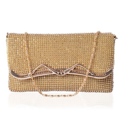 AAA White Austrian Crystal Gold Tone Clutch Bag with Chain Strap (Size 19x11 Cm)