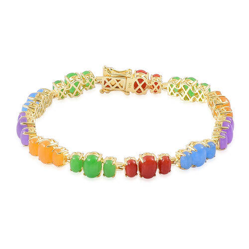 Jade Preview Special-  Red, Yellow, Blue, Purple and Multi Colour Jade Bracelet (Size 7.75) in Yellow Gold Overlay Sterling Silver 32.750 Ct.
