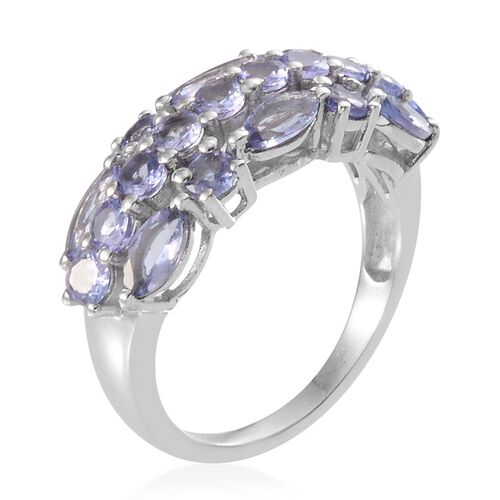 Tanzanite (Mrq) Ring in Platinum Overlay Sterling Silver 2.750 Ct.