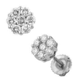 RHAPSODY 950 Platinum IGI Certified Diamond (Rnd) (VS/E-F) Floral Stud Earrings (with Screw Back) 1.000 Ct.