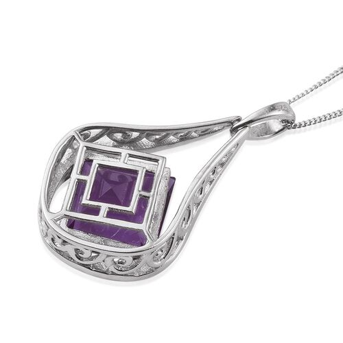 Lavender Alexite (Sqr) Solitaire Pendant With Chain in Platinum Overlay Sterling Silver 8.250 Ct.