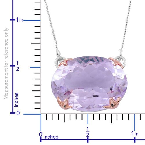 Rose De France Amethyst (Ovl) Necklace (Size 18) in Rhodium and Rose Gold Plated Sterling Silver 16.750 Ct.