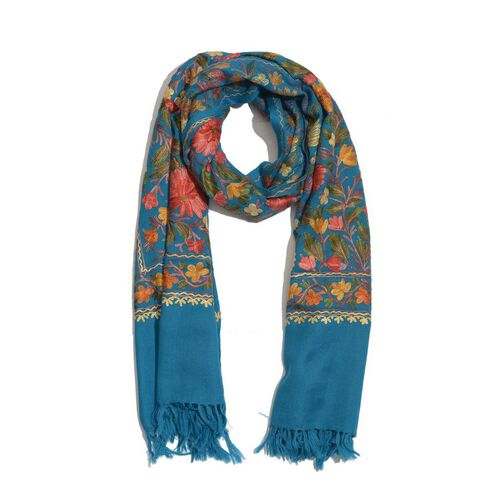 100% Merino Wool Blue and Multi Colour Flowers and Leaves Hand Embroidered Shawl (175x70 Cm)