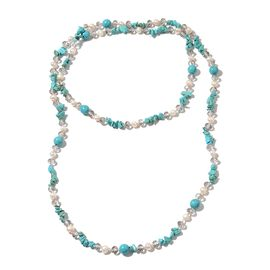 Blue Howlite, Fresh Water White Pearl, Simulated Grey Moonstone and Simulated White Topaz Necklace (Size 46) 363.000 Ct.