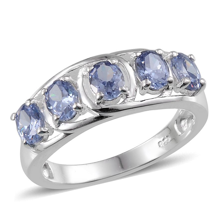 Simulated Tanzanite: AAA Simulated Tanzanite (Ovl) 5 Stone Ring In Sterling