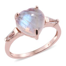 Sri Lankan Rainbow Moonstone (Hrt 5.20 Ct), White Topaz Ring in Rose Gold Overlay Sterling Silver 5.500 Ct.