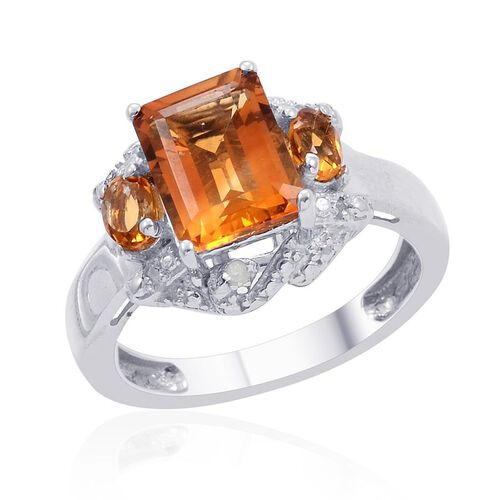 Madeira Citrine (Oct 2.25 Ct), Diamond Ring in Platinum Overlay Sterling Silver 2.530 Ct.