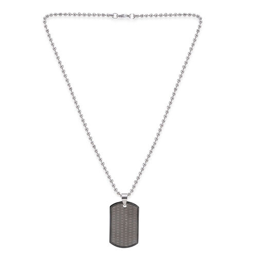 Close Out Deal Dog Tag Pendant with Bead Chain in ION Plated Black Stainless Steel