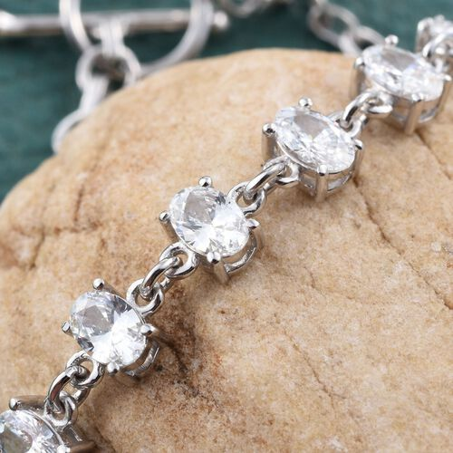 J Francis - Platinum Overlay Sterling Silver (Ovl) Bracelet (Size 7.5) Made with SWAROVSKI ZIRCONIA, Silver wt 5.00 Gram