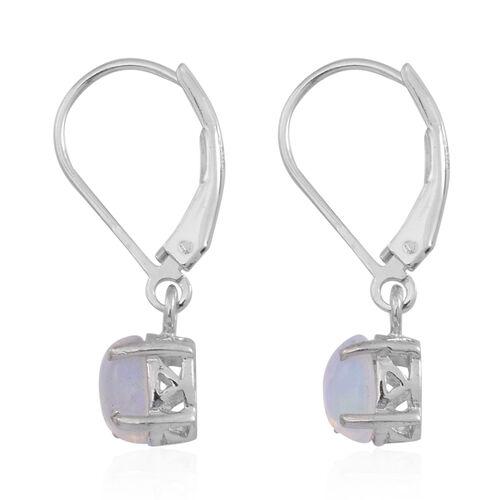 Ethiopian Welo Opal (Ovl) Lever Back Earrings in Rhodium Plated Sterling Silver 1.000 Ct.