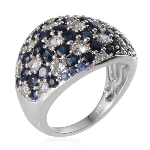 Kanchanaburi Blue Sapphire (Rnd), White Topaz Cluster Ring in Platinum Overlay Sterling Silver 6.500 Ct.