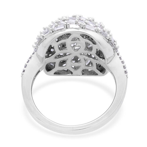 Designer Inspired-Fireworks Diamond (Rnd) Cluster Ring in Platinum Overlay Sterling Silver 1.000 Ct.