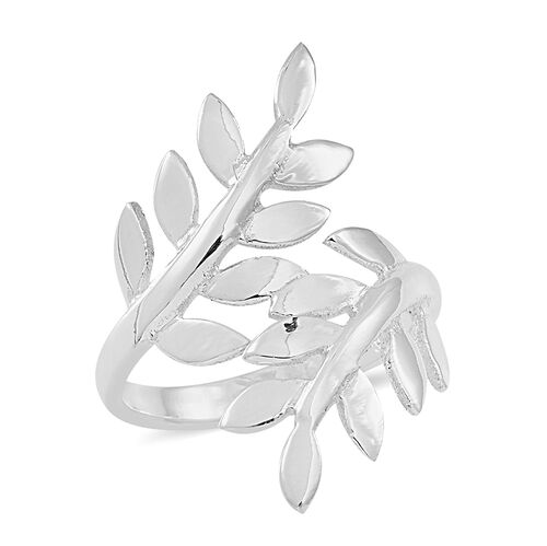 Thai Sterling Silver Leaves Crossover Ring, Silver wt 4.56 Gms.