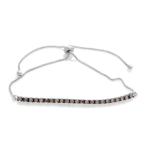 Natural Champagne Diamond (Rnd) Adjustable Bracelet (Size 6.5 to 8) in Platinum Overlay Sterling Silver 1.000 Ct.