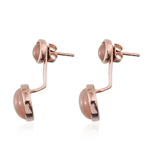 Morogoro Peach Sunstone (Rnd) Earrings (with Push Back) in Rose Gold Overlay Sterling Silver 10.000 Ct.
