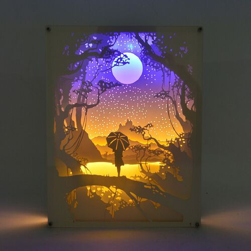 Fairy Tale Lighting with Paper Cut 3D Singing in the Rain Motif (Size 26x20 Cm)