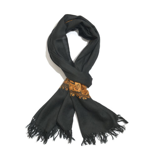 100% Merino Wool Black and Orange Colour Embroidered Scarf with Fringes (Size 200x70 Cm)