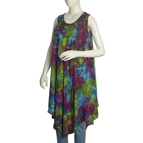 Summer Collection- Midi Length Multi Colour Summer Forest Printed Neck Dress (Free Size)