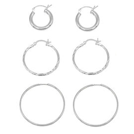 One Time Close Out Deal- Set of 3 - Sterling Silver Hoop Earrings (with Clasp Lock) , Silver wt 6.50 Gms.