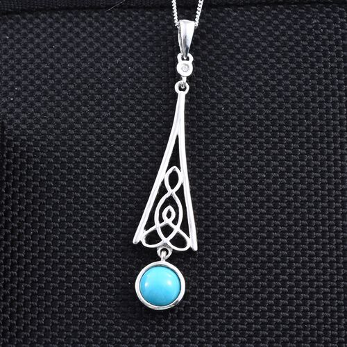 Arizona Sleeping Beauty Turquoise (Rnd 1.13 Ct), Natural Cambodian Zircon Pendant with Chain in Platinum Overlay Sterling Silver 1.150 Ct.