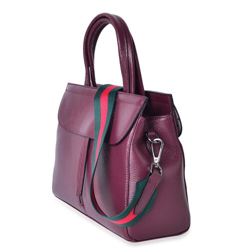 Designer Inspired Top Grain 100% Genuine Leather Burgundy Colour Tote Bag with Pink and Green Colour Removable Shoulder Strap (Size 29X22X10.5 Cm)
