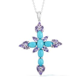 Arizona Sleeping Beauty Turquoise (Ovl), Tanzanite Cross Pendant with Chain in Rhodium Plated Sterling Silver 4.470 Ct.
